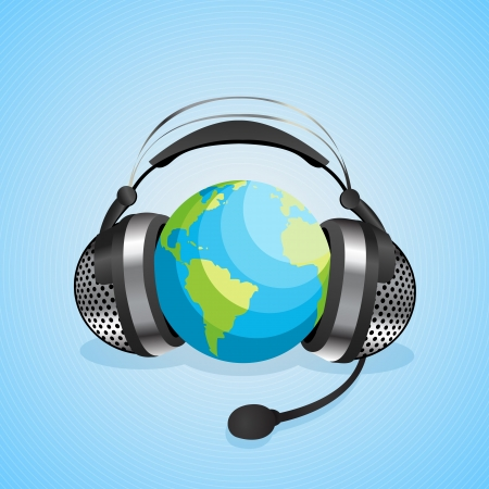 Conceptual graphic for online chat, worl communication with headphones over a globe  Abstract art Vector