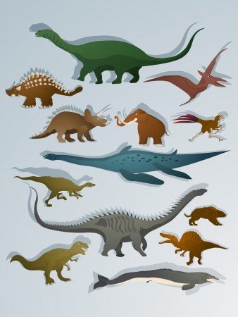 Collection of dinoasurs and ancient animals cartoon drawing set  Vector
