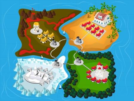 Four imaginary kingdom map, fantasy art illustration