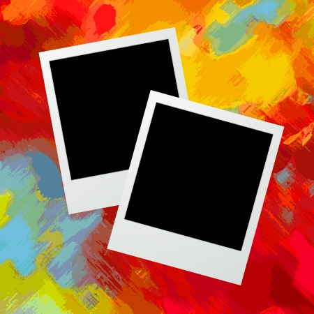 photoframe: Graphic illustration of two photo frames over a grunge painted background