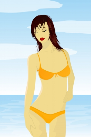 Illustration of a red hair girl in bathing suit over a sea background  No mesh or transparencies used  Stock Vector - 14437565