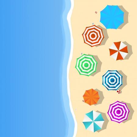 Vue aérienne d'une plage d'été avec parasols colorés et des jouets, des pantoufles et une salle pour votre texte