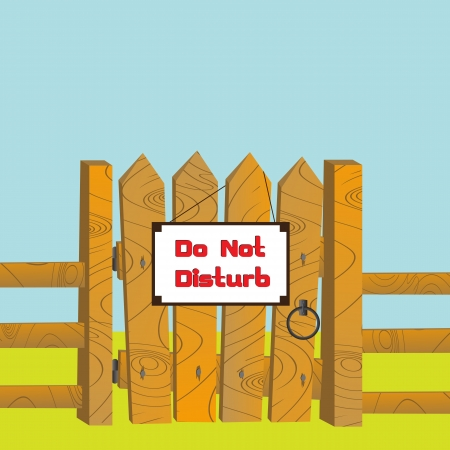 """Cartoon style illustration of a wooden gate and fence with """"Do Not Disturb"""" sign posted."""