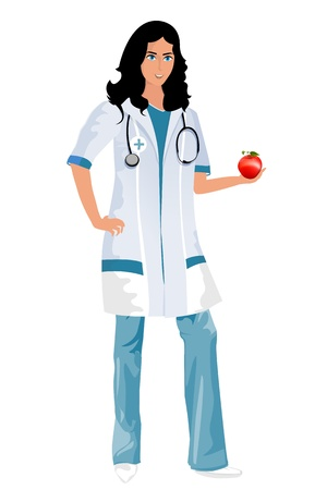 Conceptual illustration of a nursedoctor holding an red apple. Mesh gradients used. Vector