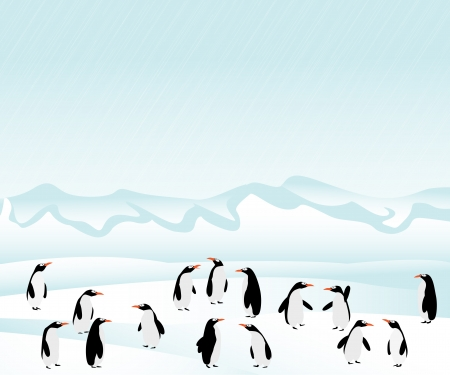 antarctica: Penguins background. Graphic art illustration