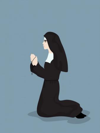 nun: Cartoon style drawing of a praying nun  Illustration