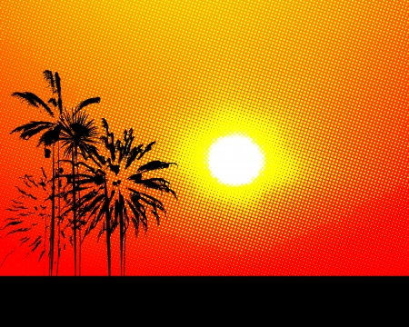 coco: Stylized summer background with halftone sun and palm trees Illustration