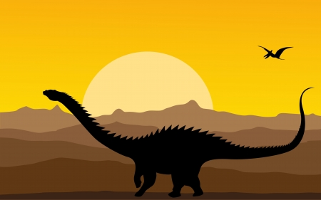 silhouete: Backgrtound illustration with dinosaur silhouete