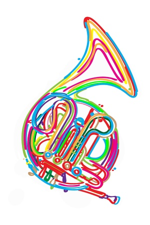 Stylized french horn against white background  Vector