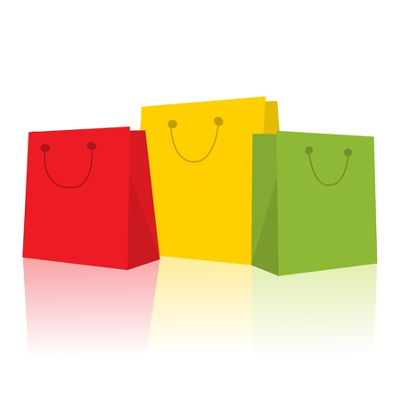 consumerism: Three smiling shopping bags in red, green and yellow against white