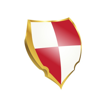 antivirus: Protection shield with red and white colors