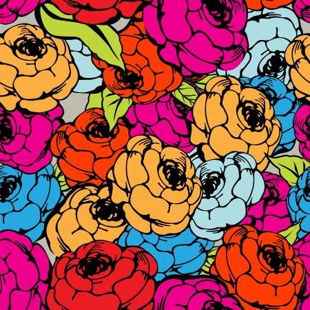 Rose seamless pattern in colors Vector