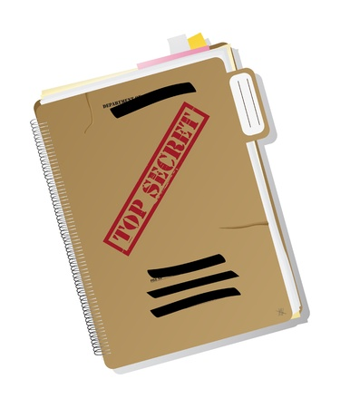 Top secret folder with files, notes and papers, isolated and grouped objects over white background, no mesh or transparencies used