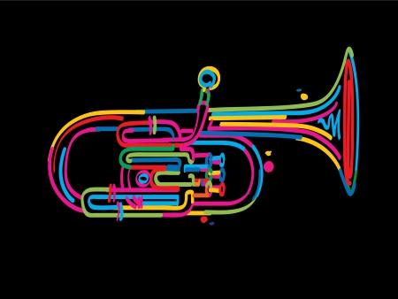 alto: Stylized alto horn over black background