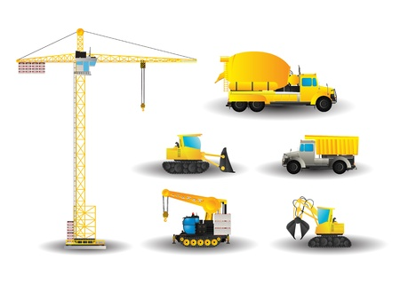 Cartoon style drawing of construction vehicles Vector