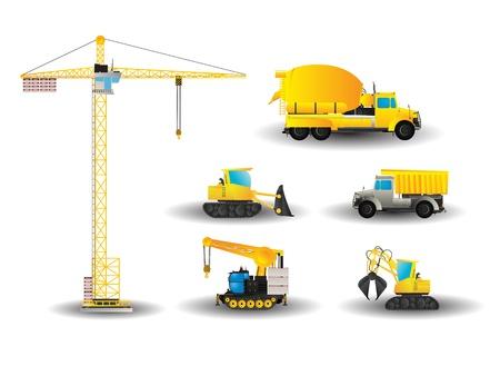 Dessin style cartoon de véhicules de construction
