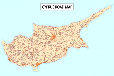 Detailed road map of Cyprus Island with Cities and settlements  Vector