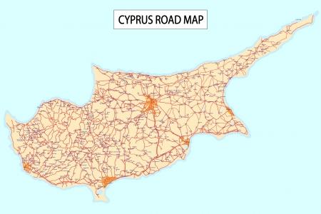 Stradale dettagliata di Isola di Cipro, con le città e gli insediamenti