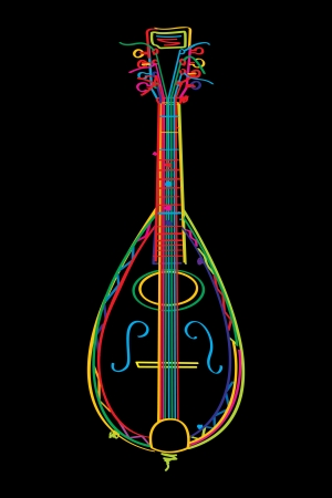mandolin: Stylized mandolin in colors over black background