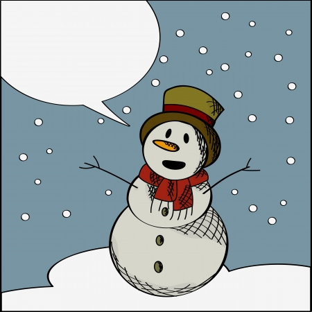 speech buble: Stylized graphic of a smiling snowman with speech buble