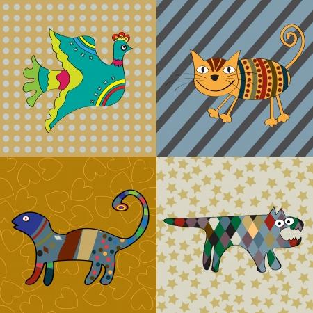 cameleon: Cute animals naive art illustration Illustration