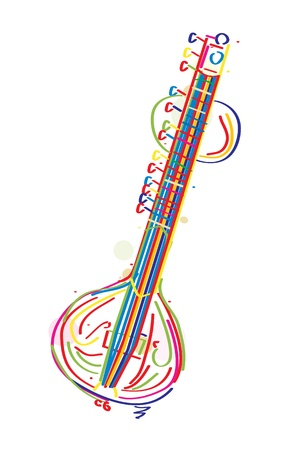 Stylized sitar instrument against white background