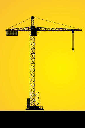 Silhouettes of a tower crane on building