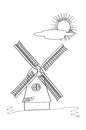 windmills: Old windmill sketch against white background Illustration