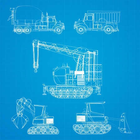 Construction vehicles  blueprint, stylized design elements Stock Vector - 15512745