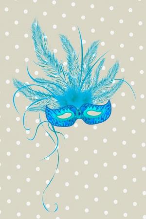 青い mardigras のマスクの羽を持つ deorated