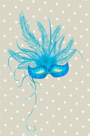 Blue mardigras mask deorated with feathers