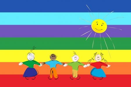manos unidas: Gráfico conceptual con siluetas de los niños a través de una bandera arco iris de la paz