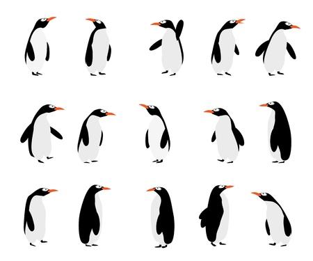 白地にかわいい漫画のペンギン  イラスト・ベクター素材