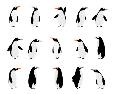 Cute cartoon penguins over white background