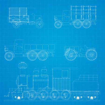 prototipo: Antiguo vehículos de transporte y el diseño locomotora de vapor modelo Vectores