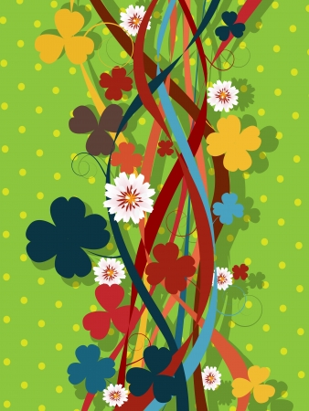 Decorative floral pattern with clover leaves and flowers in colors Vector