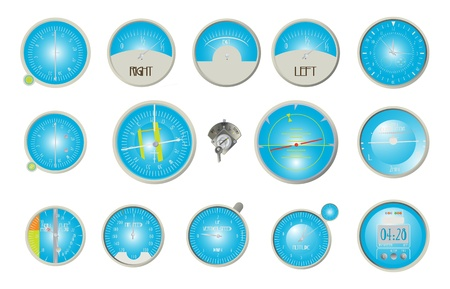 helicopter pilot: Aircraft dashboard instruments collection over white background Illustration