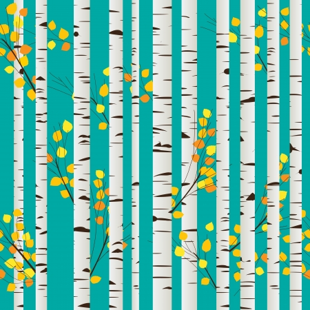 Autumn birch forest seamless pattern, graphic art