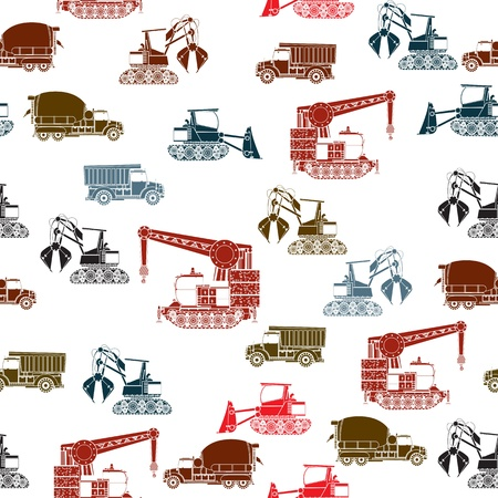 earth mover: Construction vehicles seamless pattern in color over white background