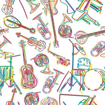 musical instruments: Fondo incons�til con estilizados instrumentos musicales