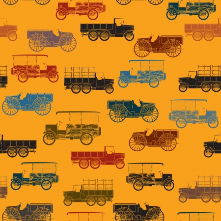 Retro color seamless pattern with vintage cars Stock Vector - 15419747