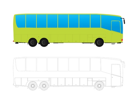 contemporaneous: Detailed tour bus in colors and outlines against white background