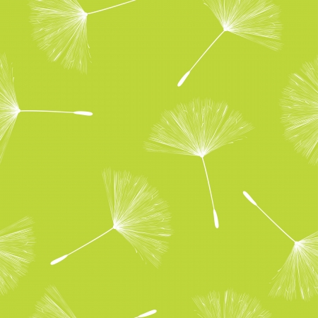 dandelion wind: Seamless background illustration with flying dandelion seeds