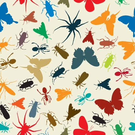 Seamless background illustration with insects in colors Stock Vector - 15472545