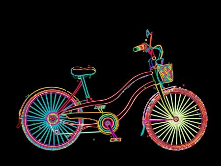stylized design: Bicicletta Retro nei colori, disegno stilizzato su sfondo nero Vettoriali