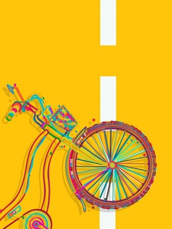 roadster: Decorative layout template card with a funky bicycle on the road Illustration