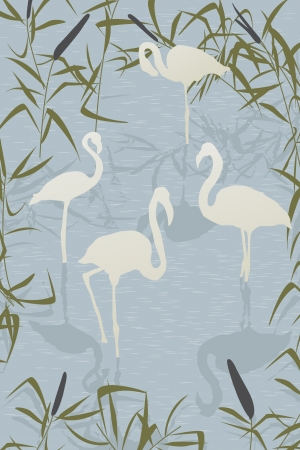 Romantic background illustration with flamingo birds on the lake Vector