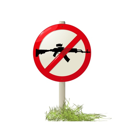 no fires sign: Street sign with a machine-gun silhouette, no guns allowed.