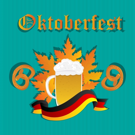 Oktoberfest design pattern with beer mug, pretzels and Germany flag. Vector