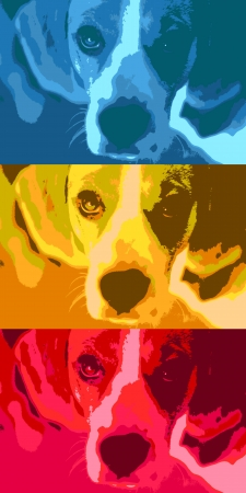 Pop art style illustration of a cute puppy. Vector